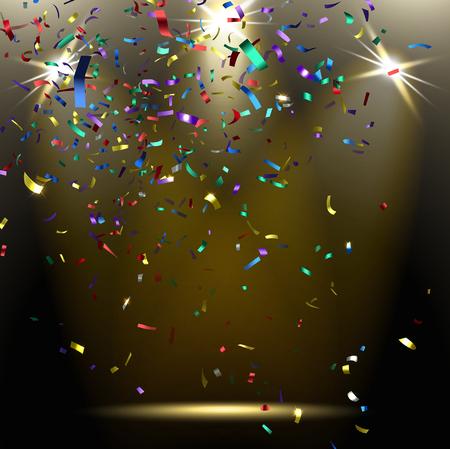 trumpery: colorful sparkling confetti on a dark background Illustration