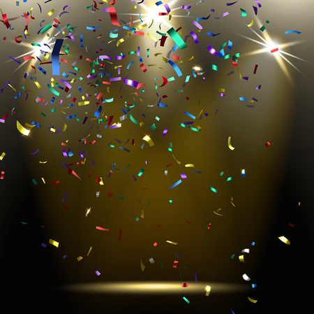colorful sparkling confetti on a dark background Stock Illustratie