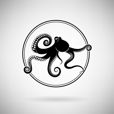 black octopus: octopus icon on a light background
