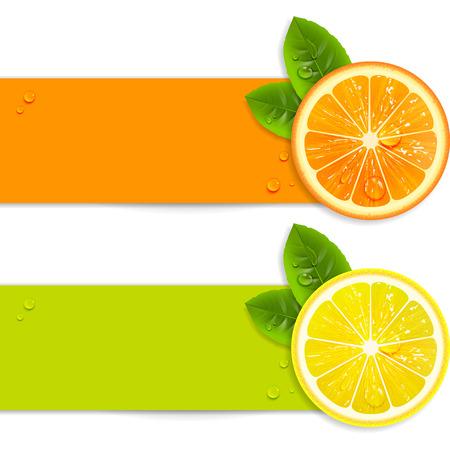 banners met sinaasappel en citroen op een witte achtergrond