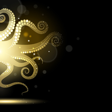 black octopus: abstract golden tentacles on a black background Illustration