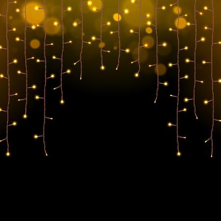 Światła: świecące świąteczne lampki wianek na ciemnym tle Ilustracja