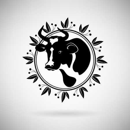 milking: icon cow on a light background