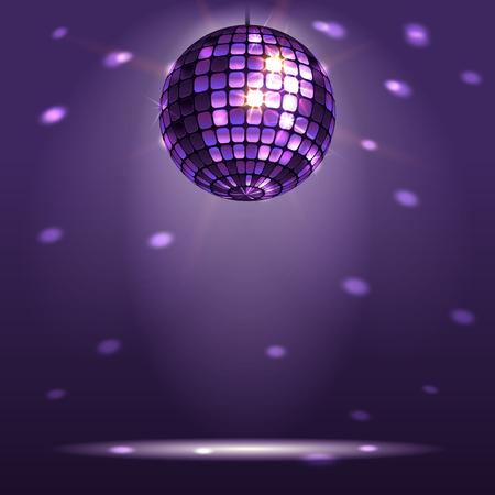 pelota: bola de discoteca brillante sobre un fondo oscuro Vectores
