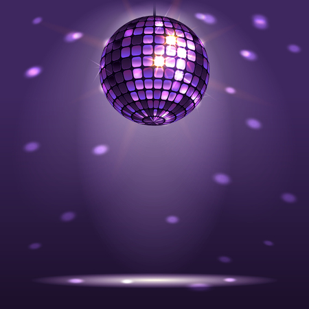 disco backdrop: shiny disco ball on a dark background Illustration