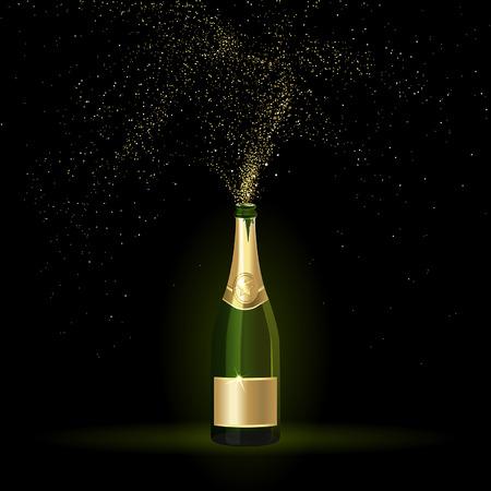 champagne met gouden confetti op een zwarte achtergrond Stock Illustratie