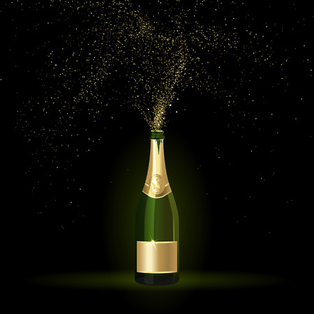 champagne with gold confetti on a black background