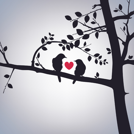 birds in tree: spring birds on a tree with a heart Illustration