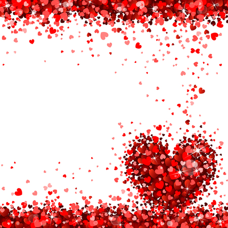 Gruß von roten Herzen auf weißem Hintergrund