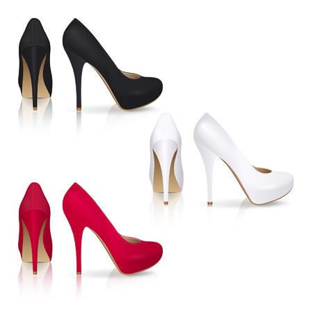 calcanhares: Sapatos de salto alto na cor preto, branco e vermelho sobre um fundo branco