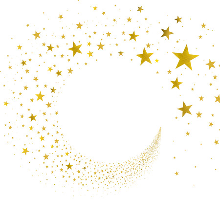 gold swirl: stream gold stars on a white background Illustration