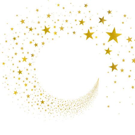 strumień złotych gwiazd na białym tle Ilustracje wektorowe