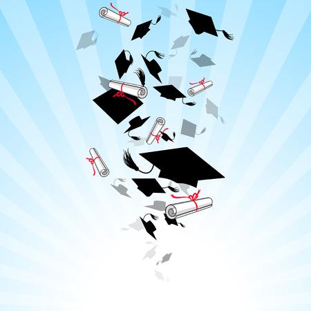 graduacion: casquillos graduados y diploma de torbellino en el cielo