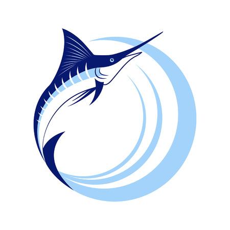 白い背景に海の波とカジキ魚  イラスト・ベクター素材