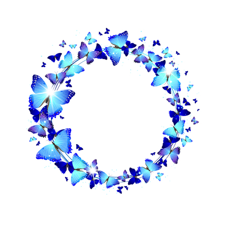 exhilaration: wreath of blue butterflies on a white background