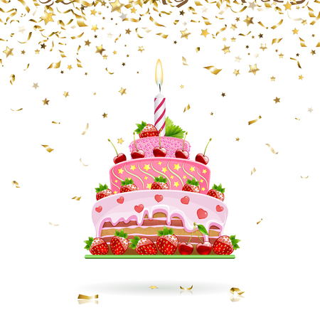 cartoon strawberry: celebratory strawberry cake with gold confetti Illustration