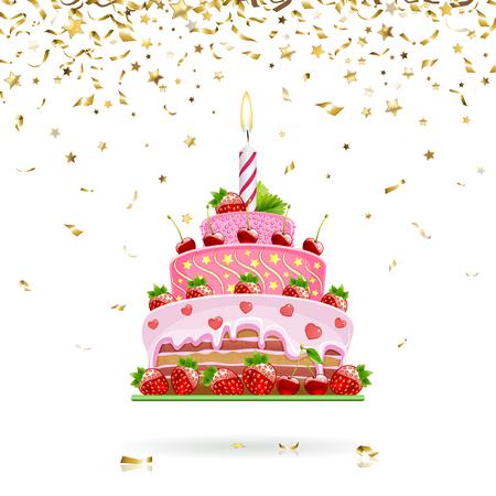 comiendo fruta: tarta de fresa de celebraci�n con confeti de oro