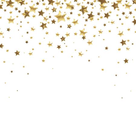Gouden vallende sterren op een witte achtergrond Stock Illustratie