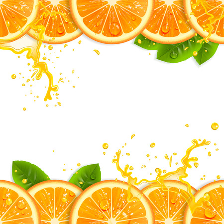 orange juice: banner with fresh oranges and leaves Illustration