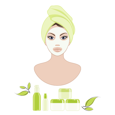 caring for: young woman caring for her face using a cosmetic products Illustration