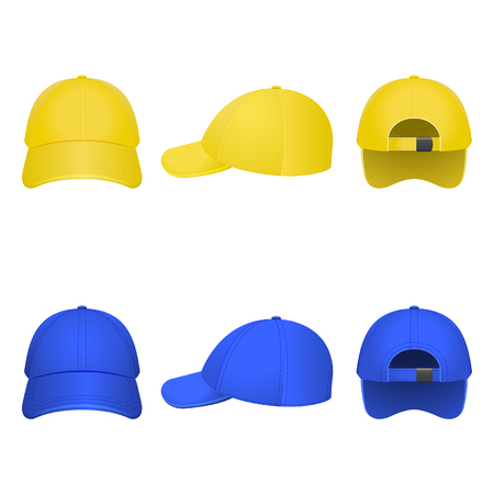 sported: yellow and blue caps on a white background Illustration