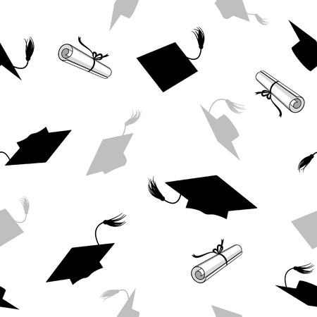 seamless pattern with graduation caps and diplomas  イラスト・ベクター素材