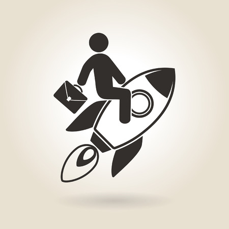 man flying: man flying on a rocket symbolizes the rapid growth in career Illustration