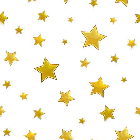 stars background: seamless pattern with gold stars on a white background Illustration