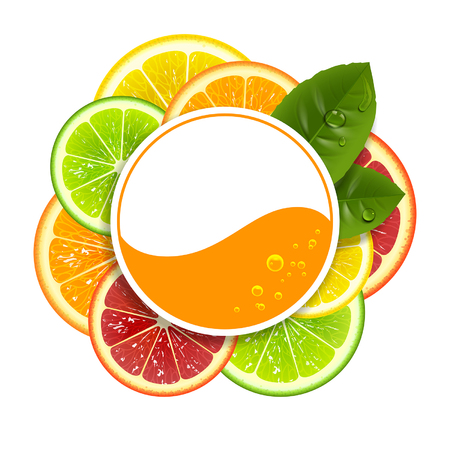 lemon slices: round banner with citrus fruit on a white background