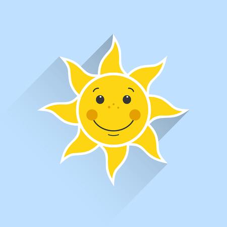 soleil souriant sur un fond bleu