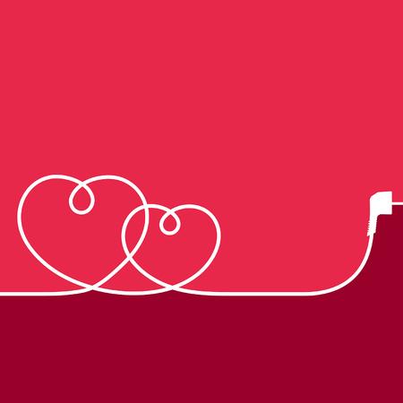빨간색 배경에 마음의 형태로 전기 와이어