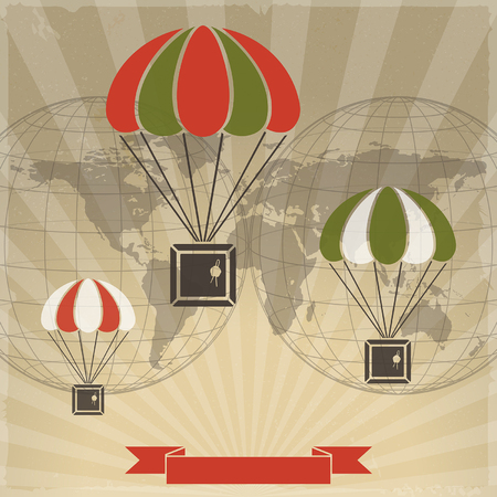 earth globe: parcels with parachutes on world map background