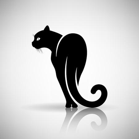 silueta gato negro: estilizado gato negro sobre un fondo claro Vectores