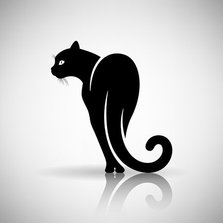 sticky: stylized black cat on a light background