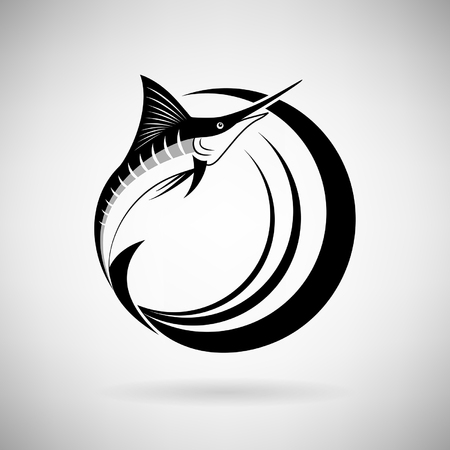 billfish: icon marlin fish with sea waves on a light background Illustration