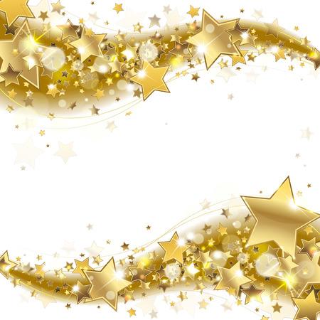 Bannière avec des étoiles d'or sur un fond blanc Banque d'images - 60175040