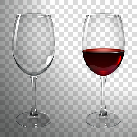 glass of red wine on a transparent background Vettoriali