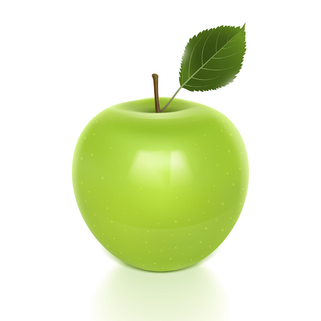 apple leaf: green apple with leaf on a white background