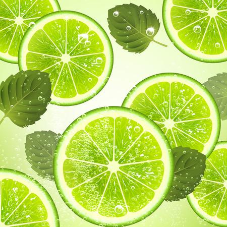 jugo de frutas: bebida refrescante de hojas de lima y menta