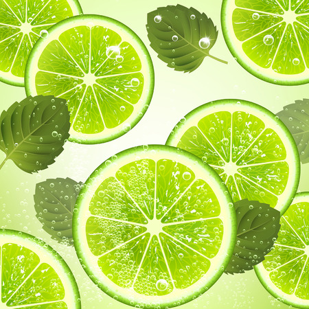 soda: refreshing drink of lime and mint leaves Illustration