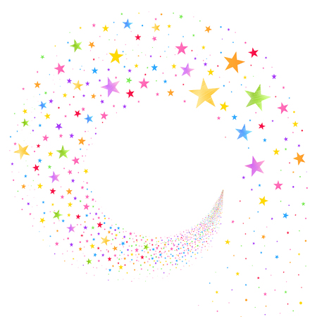 stream of multicolored stars on a white background