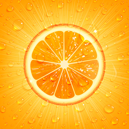 orange juice: refreshing orange background with water drops Illustration