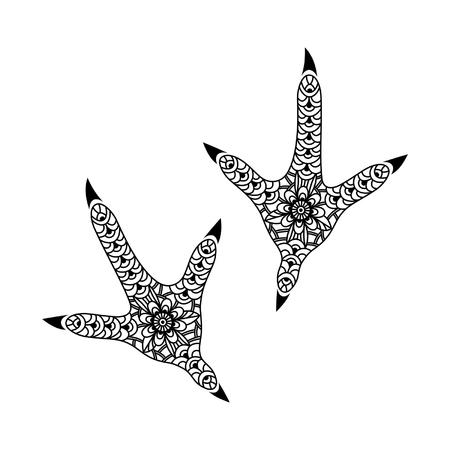 Fußabdruck stilisierte Hahn auf einem weißen Hintergrund
