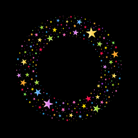 wreath of multicolored stars on a black background