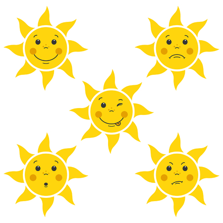 funny cartoon little faces sun on a white background
