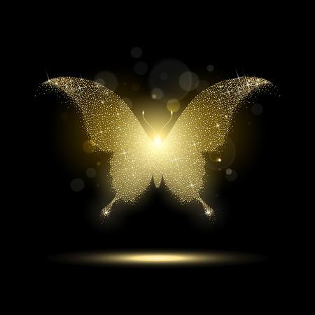 lucido farfalla d'oro su uno sfondo nero