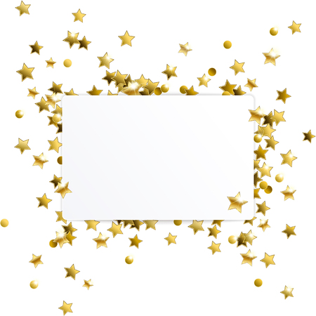 gold stars: empty white banner with gold confetti stars