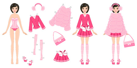 white clothes: paper doll with clothes in pink on a white background