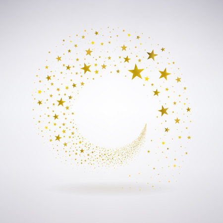 circulation of gold stars on a light background Illustration
