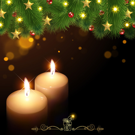 velas de navidad: Christmas background with burning candles on a black background Vectores